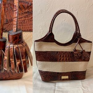 BRAHMIN medium sized embossed leather, raffia bag